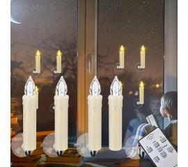 Набор из 10-ти светодиодных свечей на елку или окно, с пультом ДУ