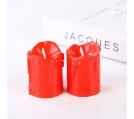 Светодиодные свечи (2 штуки), с белым фитильком, 5,5 см, красные
