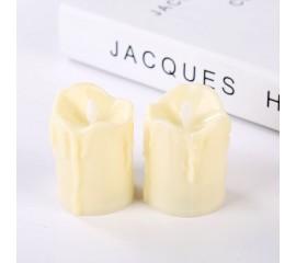 Светодиодные свечи (2 штуки), с белым фитильком, 5,5 см, кремовые