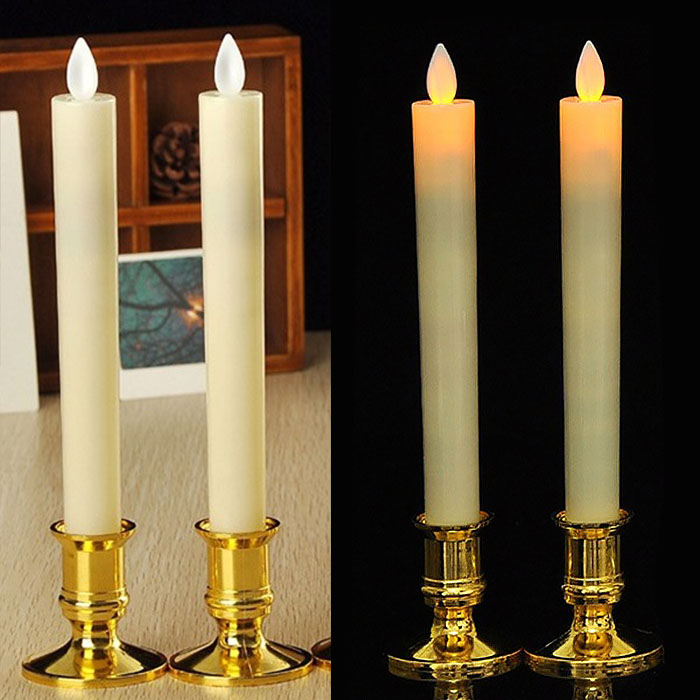 Две светодиодные свечи с эффектом горящего огонька