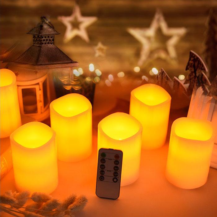 Набор светодиодных восковых свечей, 6 штук, с пультом ДУ