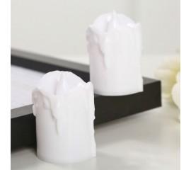 Светодиодная свеча, 5,5 см, белая с пластиковым фитильком
