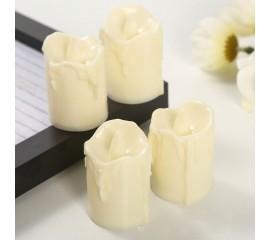 Светодиодная свеча, 5,5 см, кремовая с пластиковым фитильком