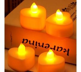 Светодиодная свеча в форме сердца, 4 см, белая