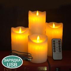 Воскова світлодіодна свічка з хитним вогником, пульт ДК, 7,5х20 см, акумулятор, зарядка usb