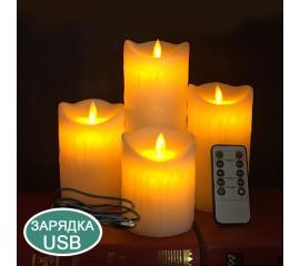 Восковая светодиодная свеча с качающимся огоньком, пульт ДУ, 7,5х10 см, аккумулятор, зарядка usb