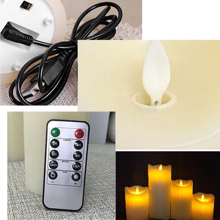 Восковая светодиодная свеча с качающимся огоньком, пульт ДУ, 7,5х20 см, аккумулятор, зарядка usb