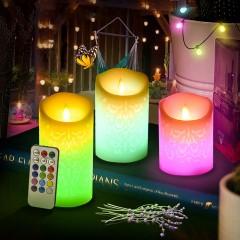 Набір світлодіодних воскових свічок з візерунком - RGB, 5 штук, з ефектом вогника, пульт ДУ