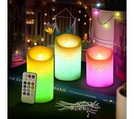 Набор светодиодных восковых свечей с узором - RGB, 5 штук, с эффектом огонька, пульт ДУ