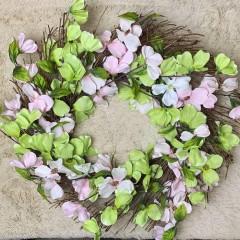Венок с розово-салатовыми цветочками 50 см