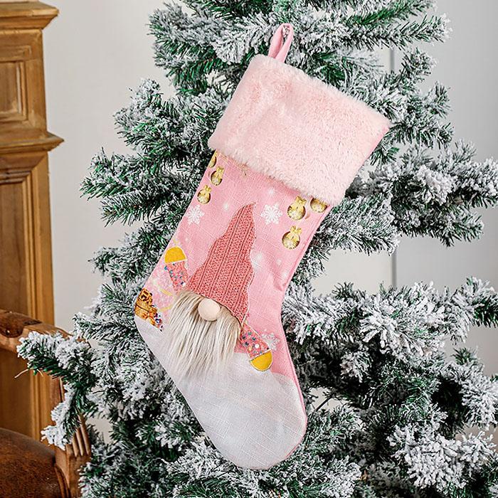 Новогодний сапог с подсветкой розовый