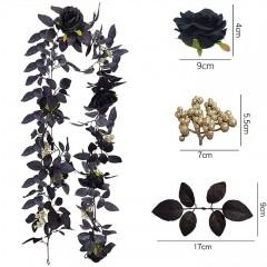 """Лиана """"Роза"""" черная с серебристыми ягодками и черными цветами 180 см"""