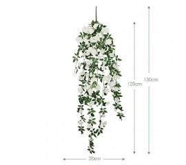 """Свисающая ветка """"Дикий шиповник"""" белая 130 см"""