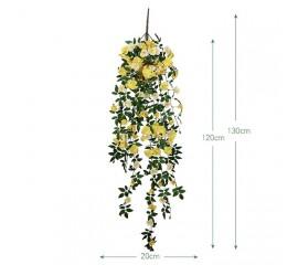 """Свисающая ветка """"Дикий шиповник"""" желтая 130 см"""