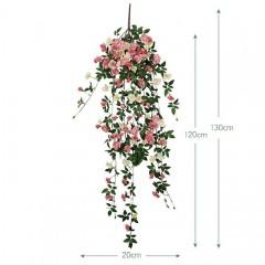 """Свисающая ветка """"Дикий шиповник"""" розовая 130 см"""