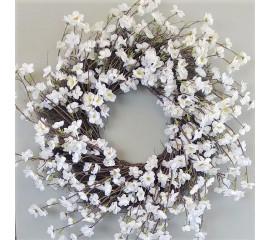 Венок с белыми цветочками 60 см