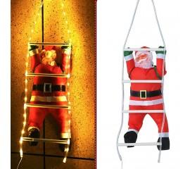 Санта на лестнице с подсветкой теплый белый USB
