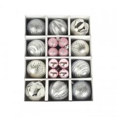 Набір ялинкових кульок 3 см і 6 см - срібло
