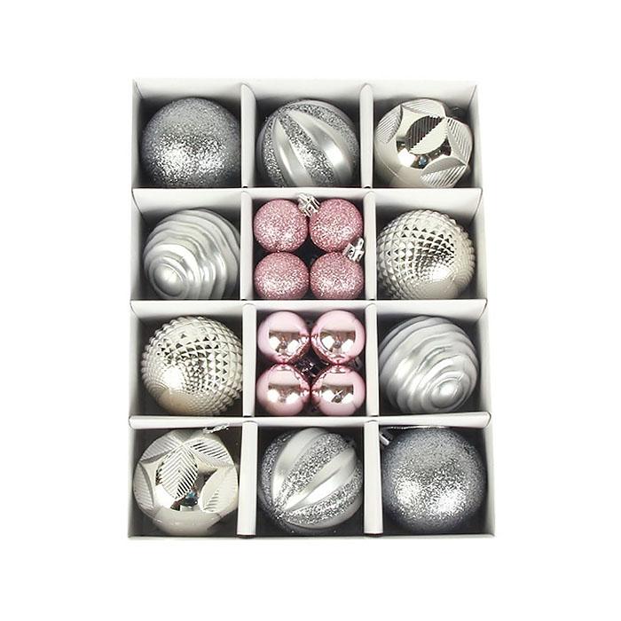Набор елочных шариков 3 см и 6 см - серебро