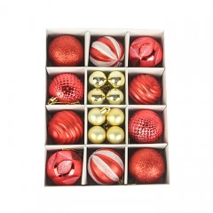 Набір ялинкових кульок 3 см і 6 см - червоний