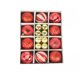 Набор елочных шариков 3 см и 6 см - красный