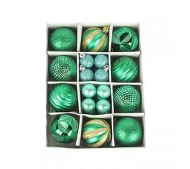 Набор елочных шариков 3 см и 6 см - зеленый