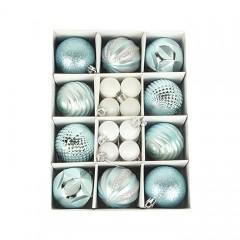Набір ялинкових кульок 3 см і 6 см - блакитний