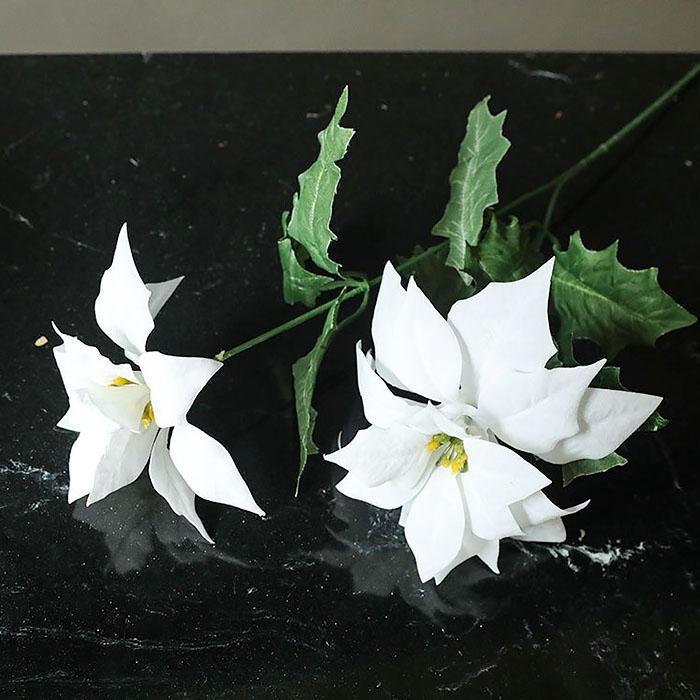 Ветка пуансетия двойная белая