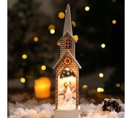 """Композиция с подсветкой """"Рождественский домик"""" белый"""