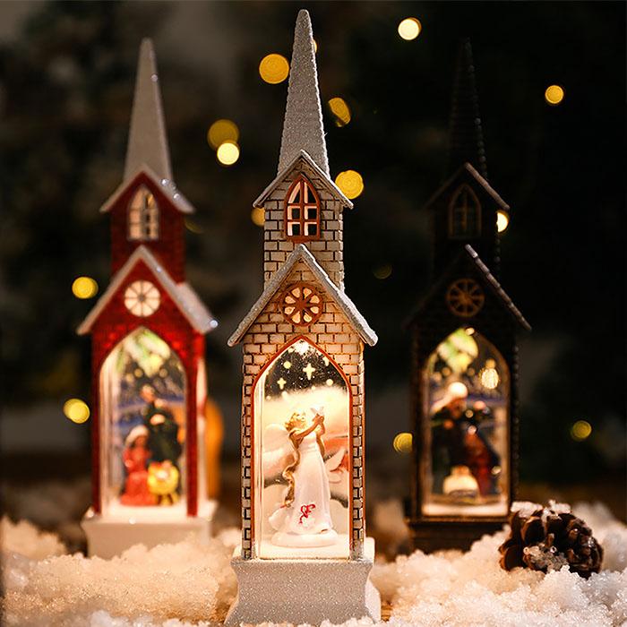 """Композиция с подсветкой """"Рождественский домик"""" коричневый"""