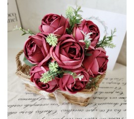 Букет связка роз бордо 29 см