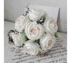 Букет связка роз белые 29 см