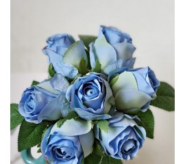 """Букет связка """"Розы в бутоне"""" 25 см - голубые"""
