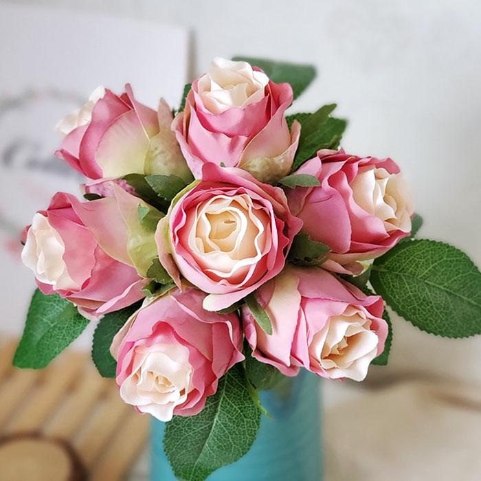 """Букет связка """"Розы в бутоне"""" 25 см - розовые"""