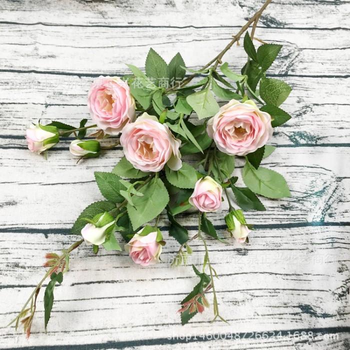 Ветка розы 100 см - нежно розовая