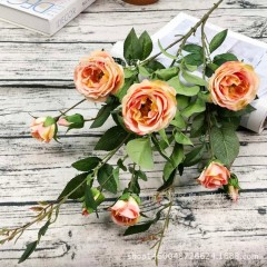 Ветка розы 100 см - темно-персиковая