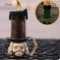 Свеча RGB одинарная с черепом коричневая 17 см