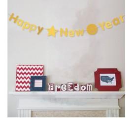 """Растяжка """"Happy New Year"""" золото"""