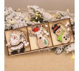 """Набор новогодние подвески """"Снеговик, олень, Санта"""""""
