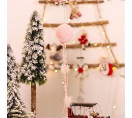 """Новогодняя подвеска """"Шар меховой"""" розовый"""
