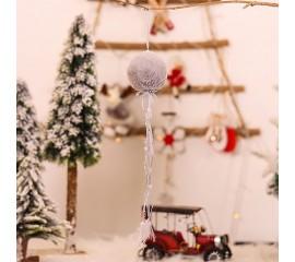 """Новогодняя подвеска """"Шар меховой"""" серый"""