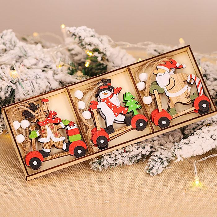 "Набор новогодние подвески ""Снеговик, олень, Санта на мотоцикле"""