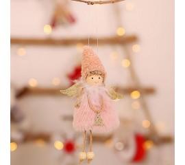 """Подвеска """"Куколка меховая"""" - розовая"""