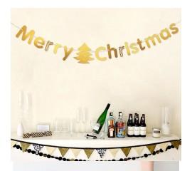 "Растяжка ""Merry Christmas"" золото"