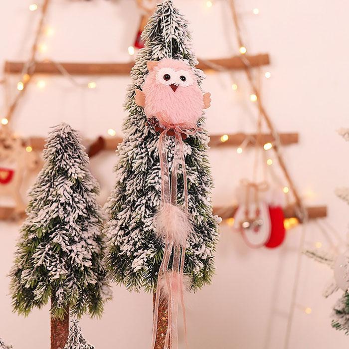 """Новогодняя подвеска """"Сова меховая"""" розовая"""