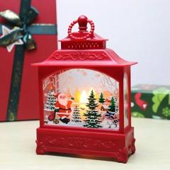 """Ліхтар зі свічкою червоний """"Санта"""""""