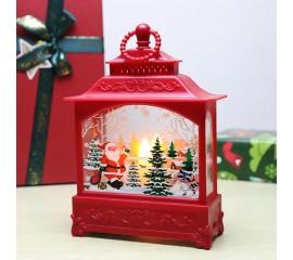 """Фонарь со свечкой красный """"Санта"""""""