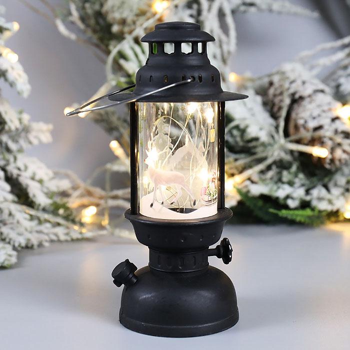 """Новогодняя керосиновая лампа с нитями """"Олень"""""""
