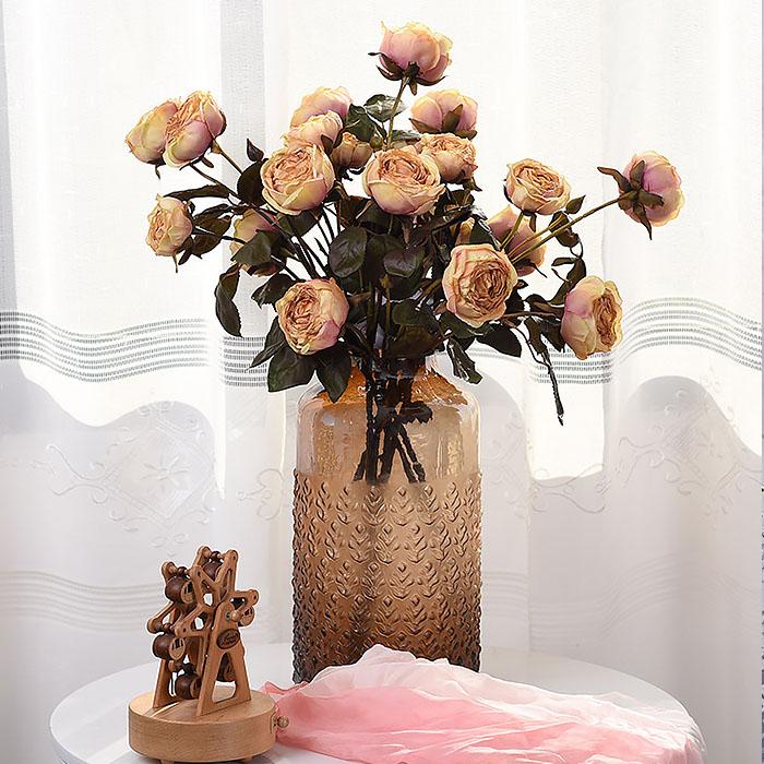 """Ветка роза """"Винтаж"""" - темно-персиковая"""