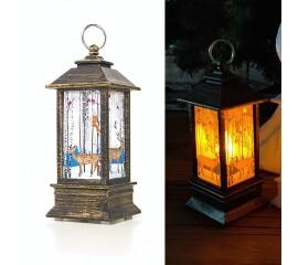 "LED фонарик со свечей бронза  ""Олени"" 13 см"